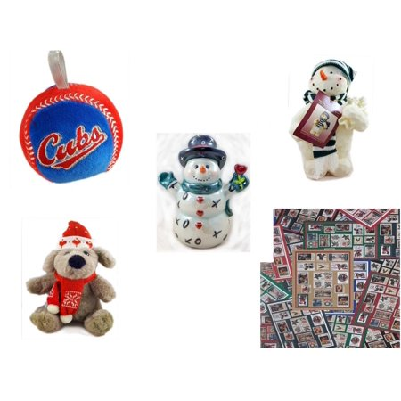 Christmas Fun Gift Bundle [5 Piece] - Chicago Cubs  Baseball Ornament - Woodniks