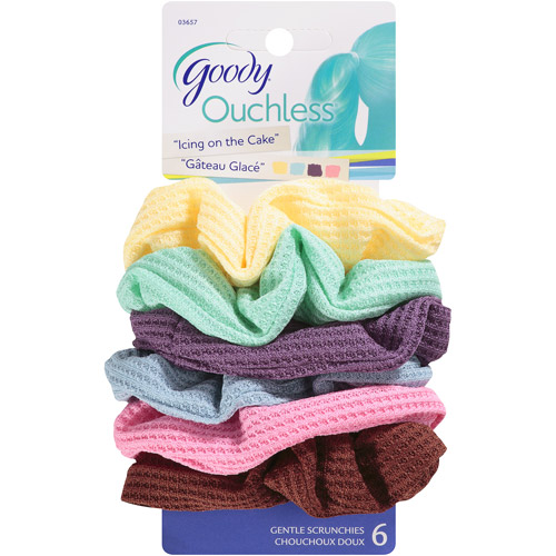 Goody Ouchless Gentle Scrunchies, Assorted Colors, 6 count
