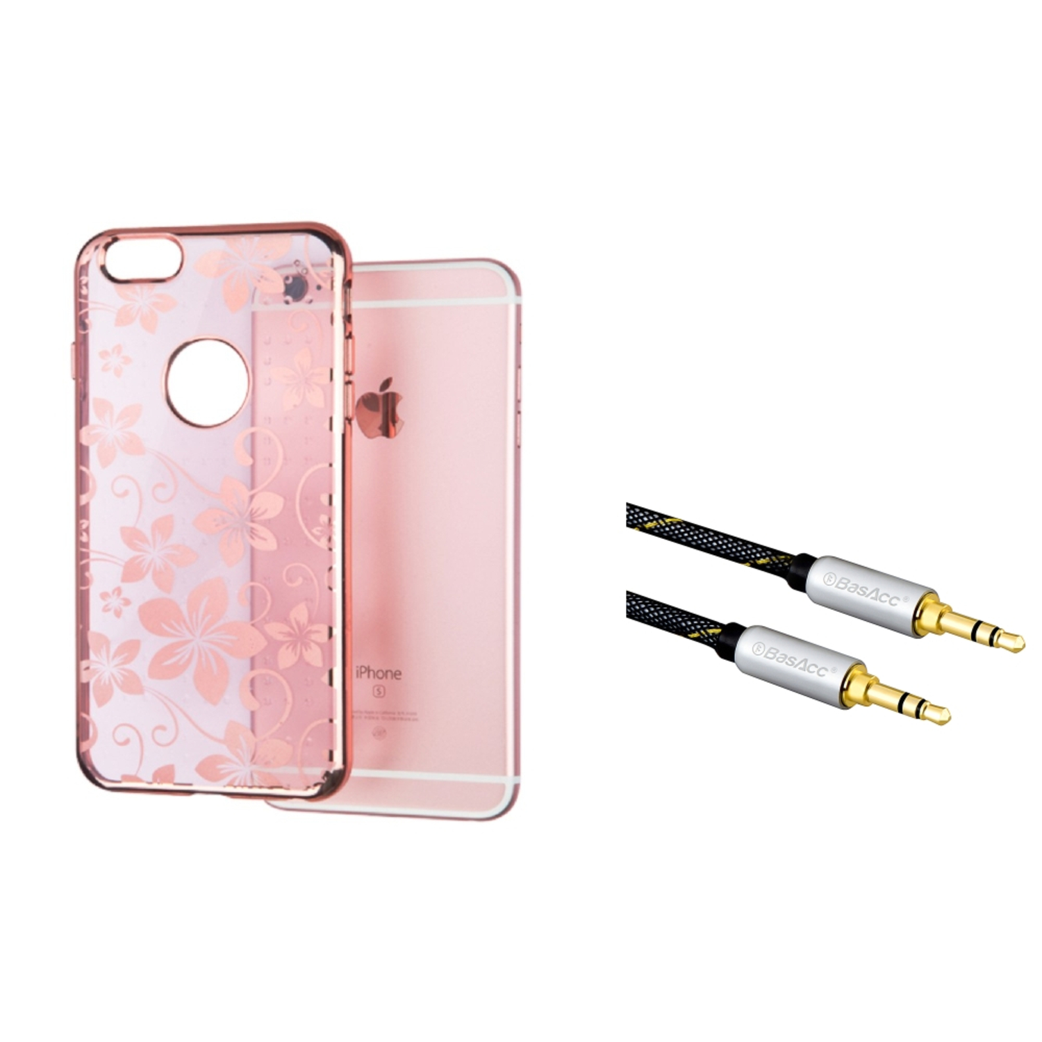 Insten Hibiscus Flower Romance Rubber Case For Apple iPhone 6s Plus / 6 Plus - Rose Gold (with 3.5mm Audio Cable M/M)