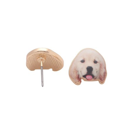 Golden Labrador Retriever Puppy Dog Stud Earrings Enamel From the Ginger Lyne Collection