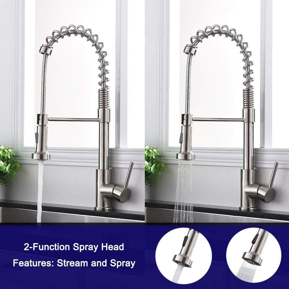 Kitchen Sink Faucet Single Handle Sprayer for effortless flow and temperature control-LIVINGbasics - image 4 de 6