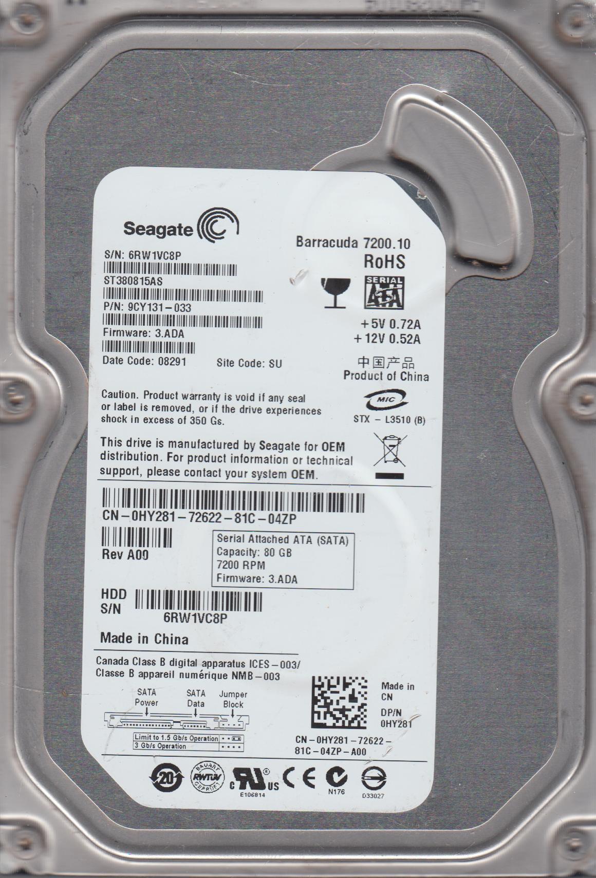 ST380815AS, 6RW, SU, PN 9CY131-033, FW 3.ADA, Seagate 80GB SATA 3.5 Hard Drive by Seagate