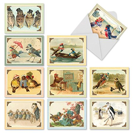 'M2344TYG SWEET TWEETS' 10 Assorted Thank You Cards Featuring Vintage Birds and Owls Enjoying Scenes frrom Everyday Life with Envelopes by The Best Card