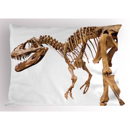 Dinosaur Pillow Sham Archeology Museum Theme Wild Tyrannosaurus Rex Skeleton Jurassic Period  Decorative Standard King Size Printed Pillowcase  36 X 20 Inches  Pale Caramel White  By Ambesonne