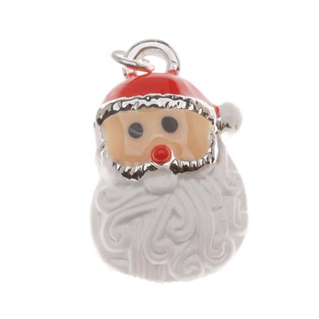 Silver Plated With Enamel Christmas Curly Beard Santa Claus Charm 19mm (1) - Curly Beard