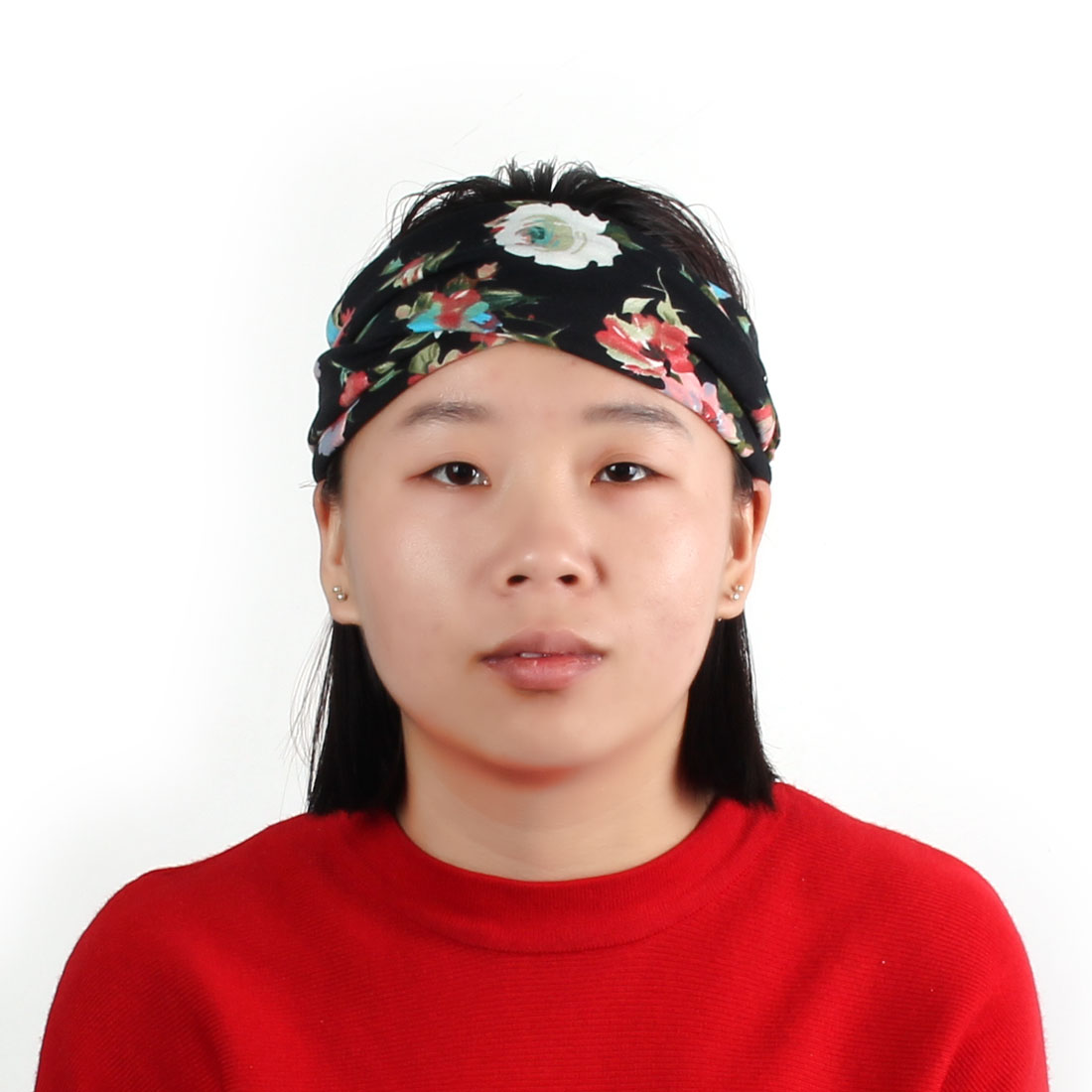 Sports Cotton Blends Elastic Twisted Knotted Design Hair Band Headband