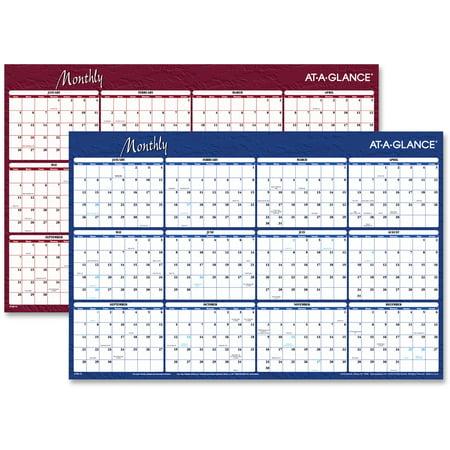 Laminated Reversible Planner (Erasable/Reversible Horizontal Yearly Wall Planner)