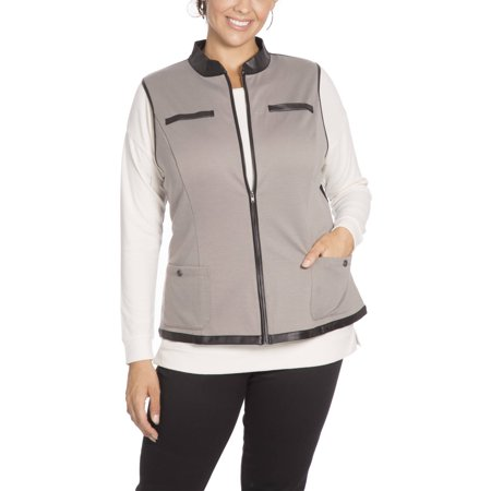 Plus Moda Women's Plus Vest with Pleather Trim