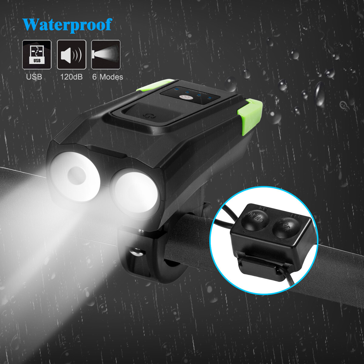 1x T6 LED Cycling Front Light 4-Modes USB charging MTB Bike Front Lamp Headlamp