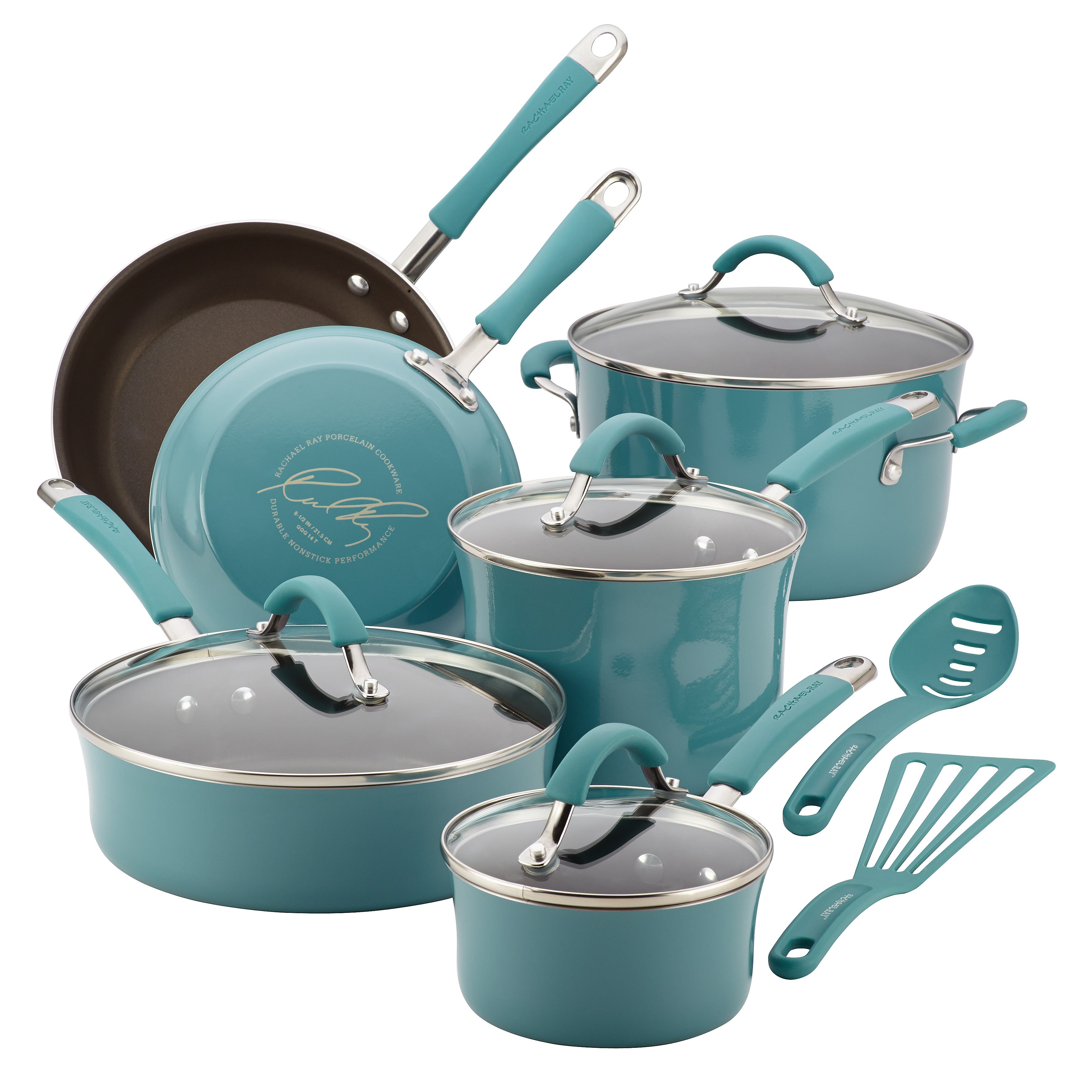 Rachael Ray(r) Cucina Hard Porcelain Enamel Nonstick Cookware Set, 12-Piece, Agave Blue