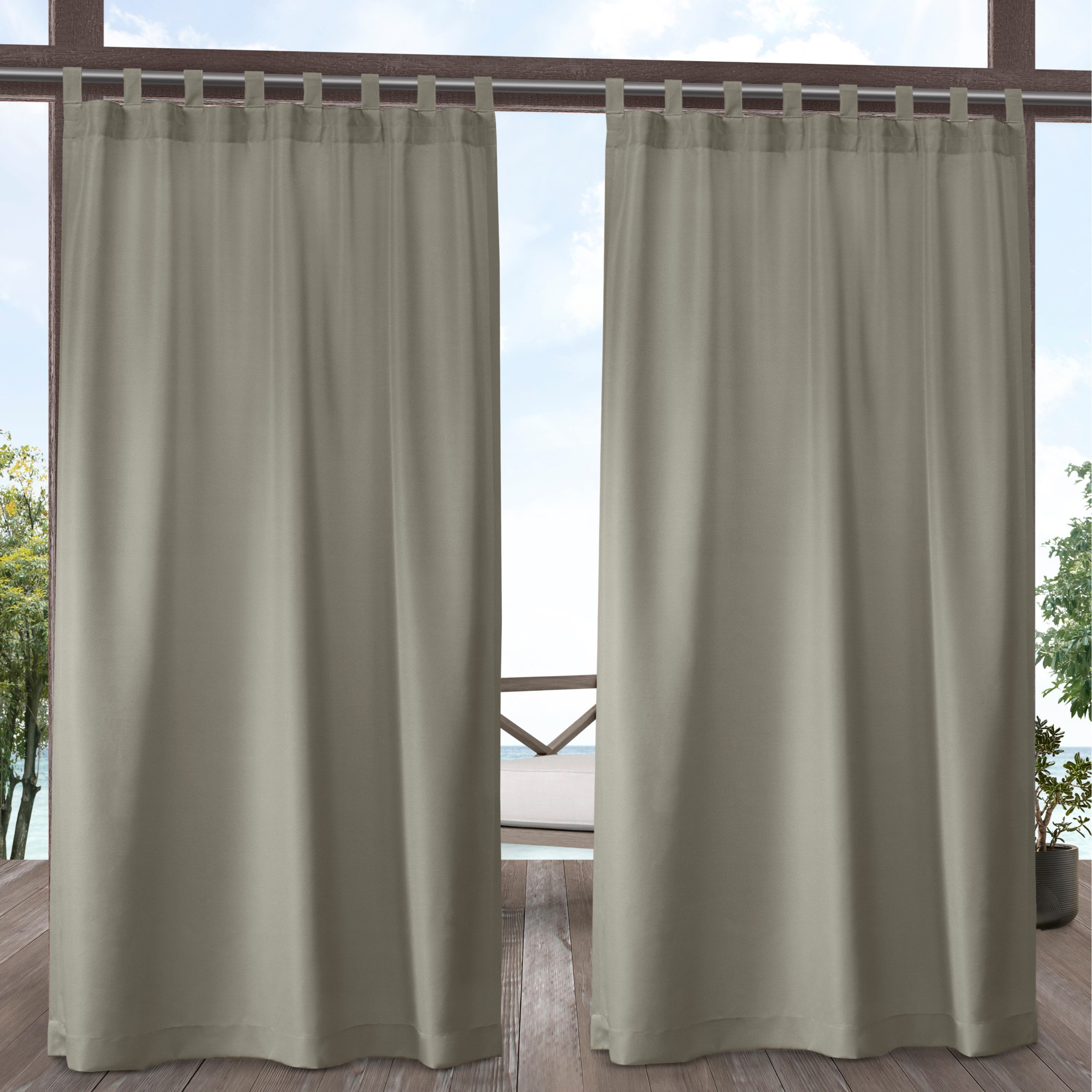 Exclusive Home Curtains 2 Pack Indoor/Outdoor Solid Cabana Tab Top Curtain Panels