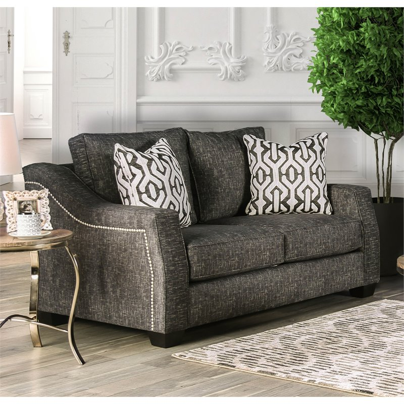Furniture of America Amery Transitional Loveseat in Light Brown