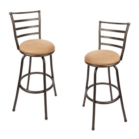 Mainstays Adjustable-Height Barstools, Set of 2, Hammered Bronze ()