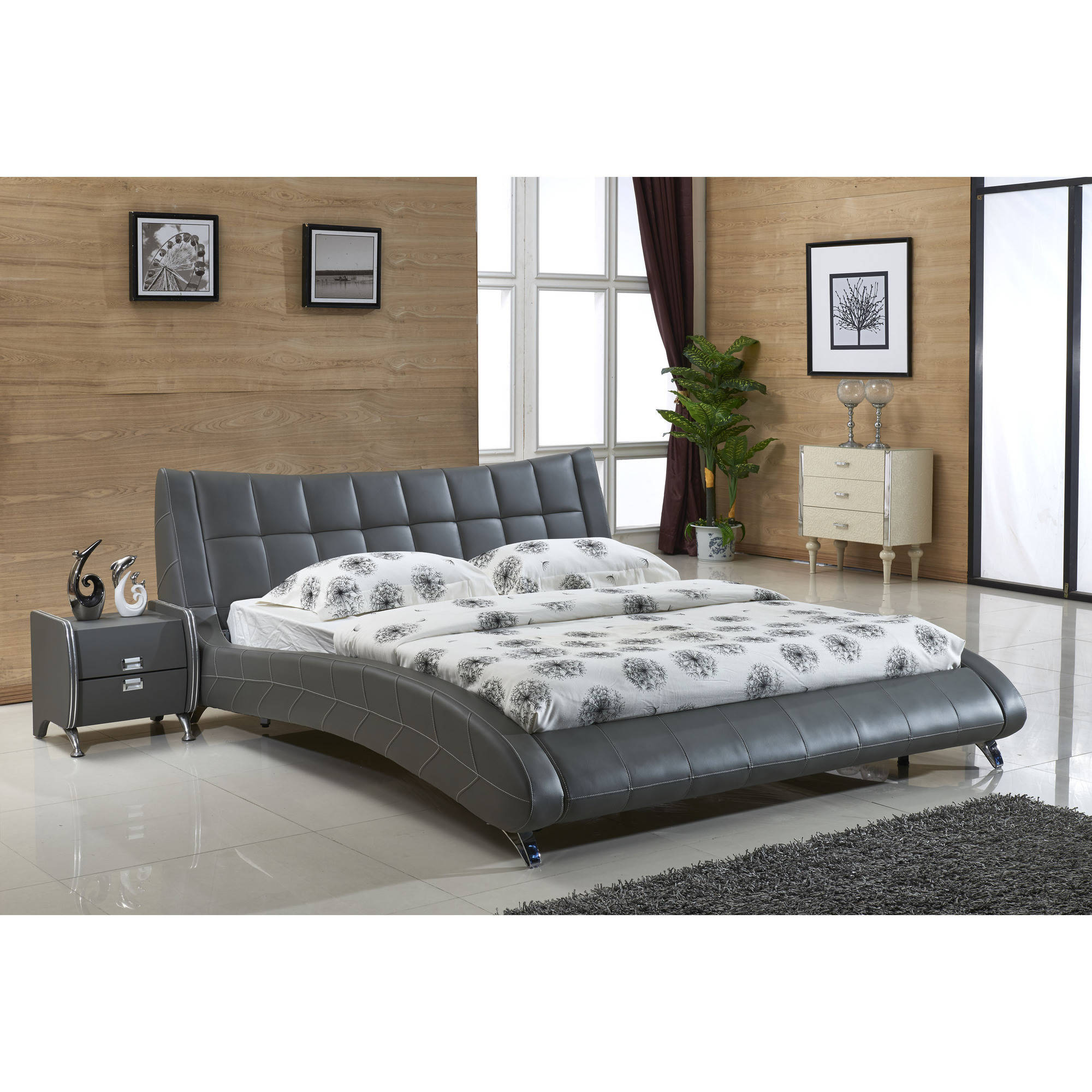 US Pride Furniture Jenson Faux Leather Contemporary Platform Bed, Queen Size, Grey