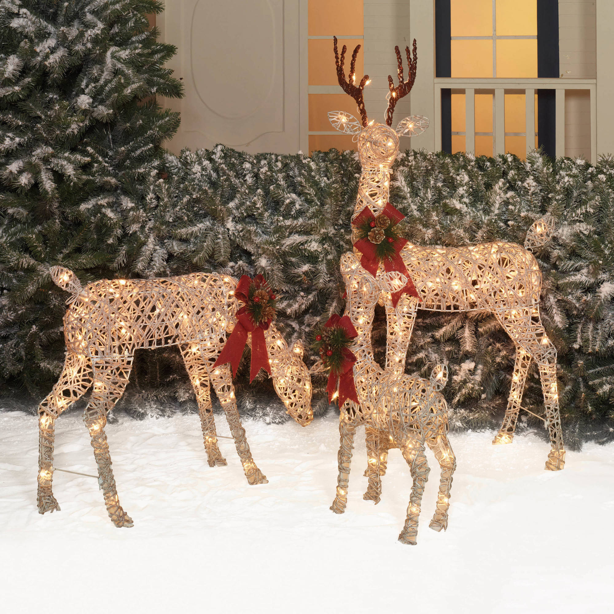 Brown Wicker Reindeer Basket Christmas Holiday Home Decoration 3 piece set