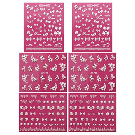 Fingernail Stickers Nail Art Nail Stickers Self-Adhesive Nail Stickers 3D Nail Decals - Bows, Hearts & Flowers (3 designs/6 - Halloween Fingernail Art