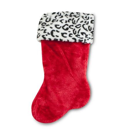 Christmas Soft Stocking (Soft White Leopard Animal Print Christmas Stocking)