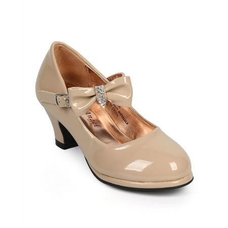 New Girl Little Angel Tasha-685E Patent Rhinestone Mary Jane Kitten Heel Pump Sz - Heel Mary Janes