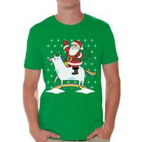 Awkward Styles Unicorn Santa Tshirt Men's Santa Unicorn Shirt Santa Ugly Christmas T Shirt Xmas Unicorn Shirts Funny Christmas Shirts for Men Xmas Gifts for Unicorn Lovers Unicorn Shirt for Xmas