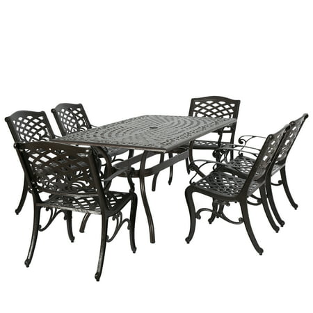 Noble House Hammond Hammered Bronze Cast Aluminum 7pc Rectangular Outdoor Dining Set ()