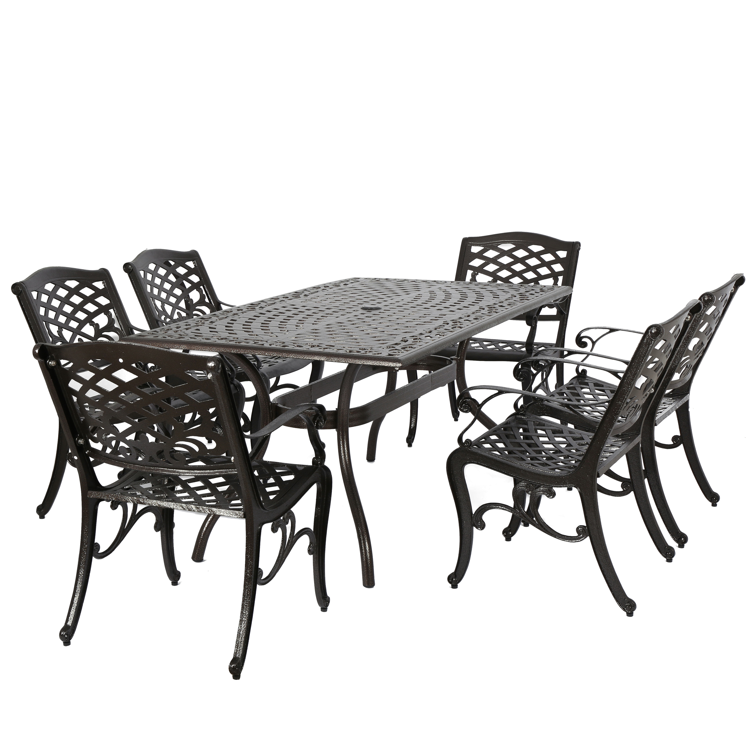 Noble House Hammond Hammered Bronze Cast Aluminum 7pc Rectangular Outdoor Dining Set
