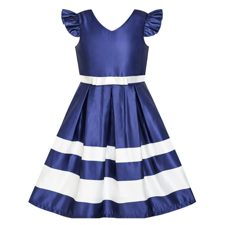 Girls Dress Navy Blue V-neckline Ribbon Color Contrast 6 - Blue Girls Dress