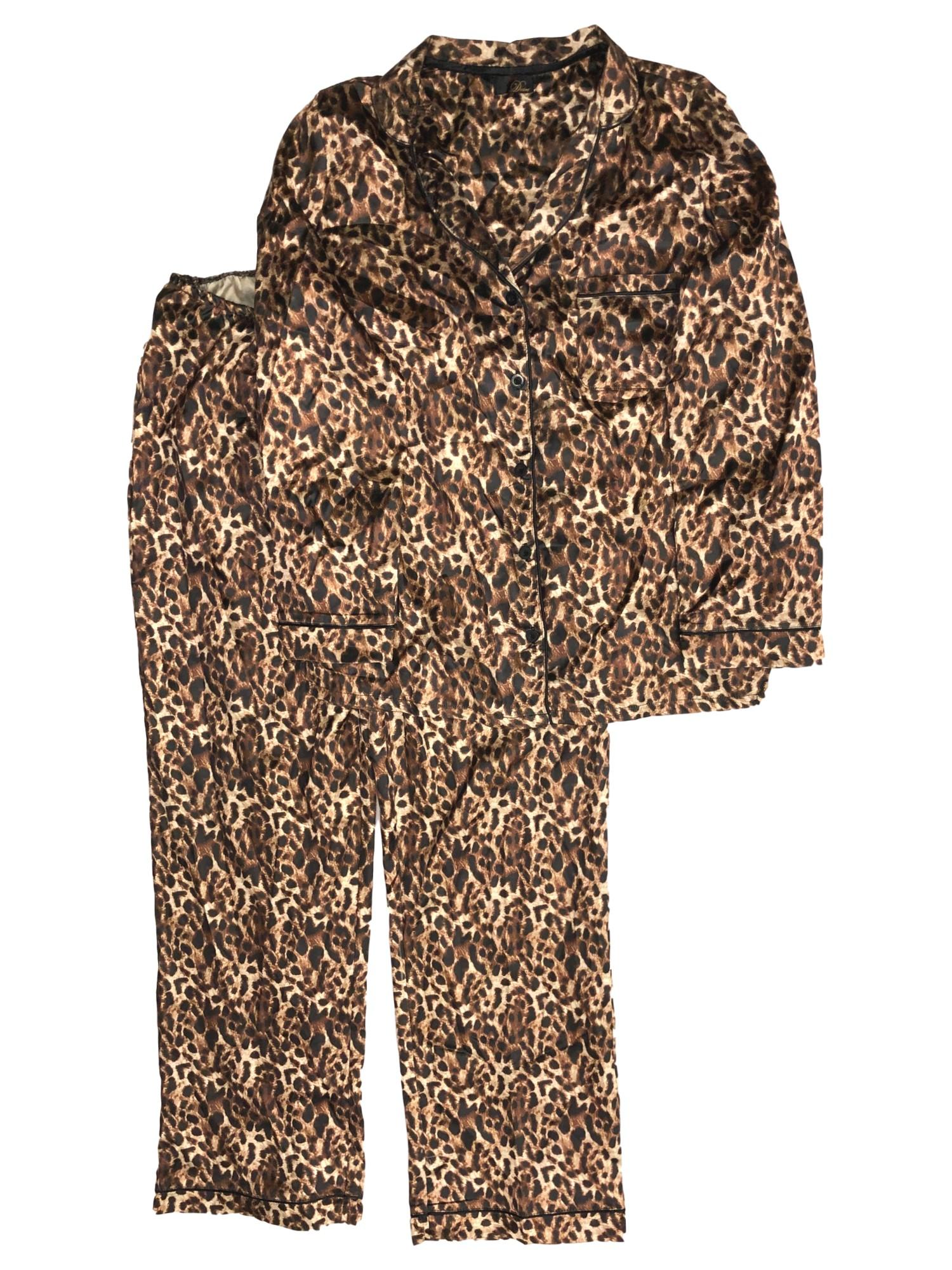 Ladies Leopard Animal Print Leggings One Size Soft Feel Silky Brown NEW