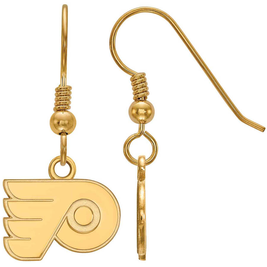LogoArt NHL Philadelphia Flyers 14kt Gold-Plated Sterling Silver Extra Small Dangle Earrings