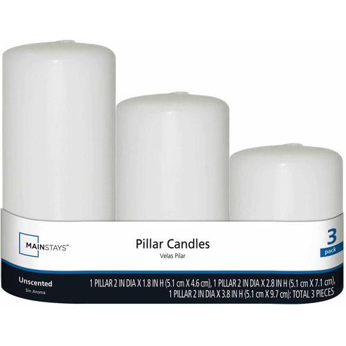 Mainstays Mini Pillars, Unscented White, 3-Pack