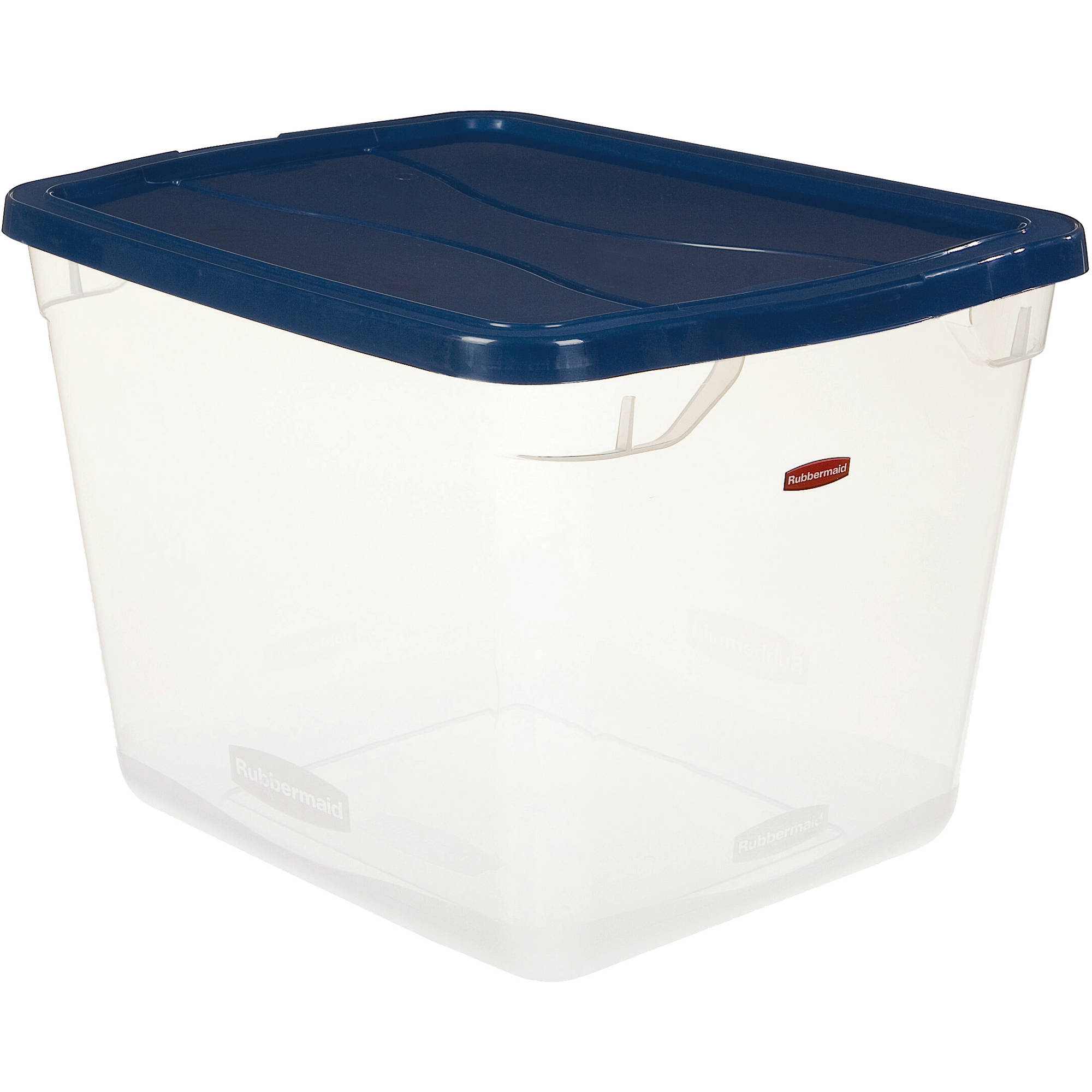 Rubbermaid 7.5-Gallon (30-Quart) Clever Store Container, Clear/Comfort Blue, Set of 8