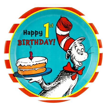Dr. Seuss 1st Birthday Dinner Plates - Dr Seuss 1st Birthday Plates