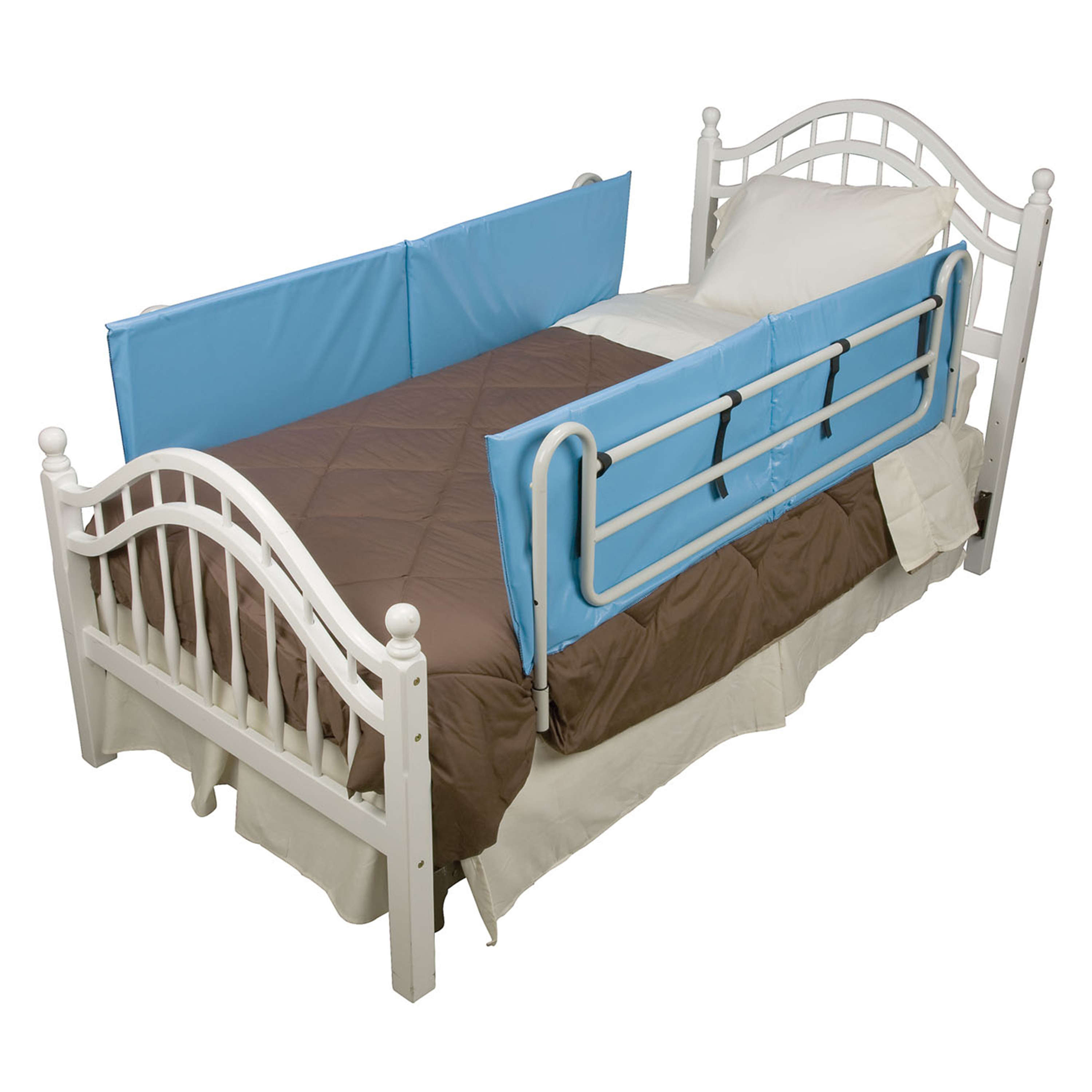 DMI Vinyl Bed Rail Cushions Bed Bumpers Pads, Non-Allergenic Cover, 60 x 15 x 0.5 inches, 1 Pair, Blue