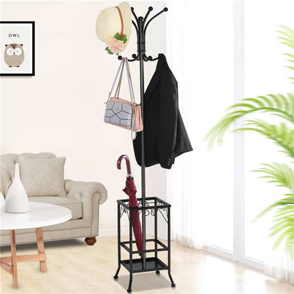 Yaheetech Metal Standing Coat Hat Rack w/Umbrella Holder Coat Tree Hanger 8 Hook Solid Base