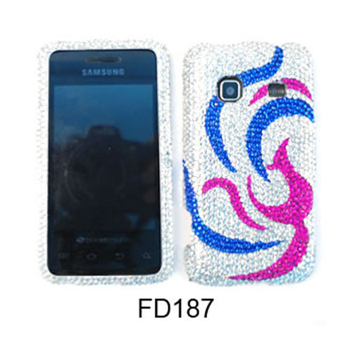 Unlimited Cellular Full Diamond Crystal Snap-On Case for Motorola MB810/ 870/ DroidX / X2 (Pink/Yellow Tattoo on White)