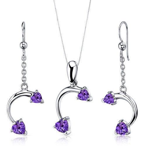 Oravo Heart Shape Gemstone Love Duet Heart Shape Pendant Earrings Set