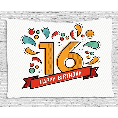 16th Birthday Decorations Tapestry Festive New Age Modern Invitation Funky Typography Artwork Wall Hanging For Bedroom Living Room Dorm Decor