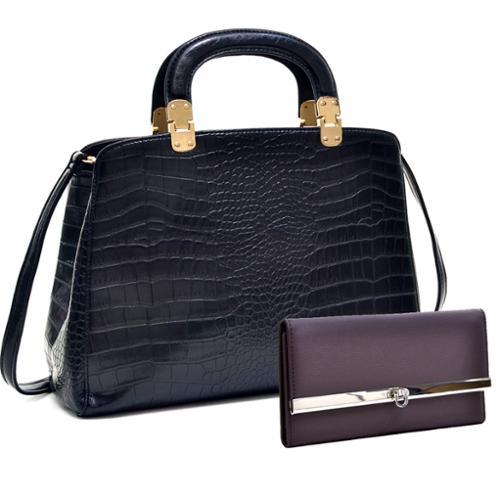 Dasein Faux Croc Hinge Handle Briefcase w/Removable Shoulder Strap & Checkbook Wallet Tan