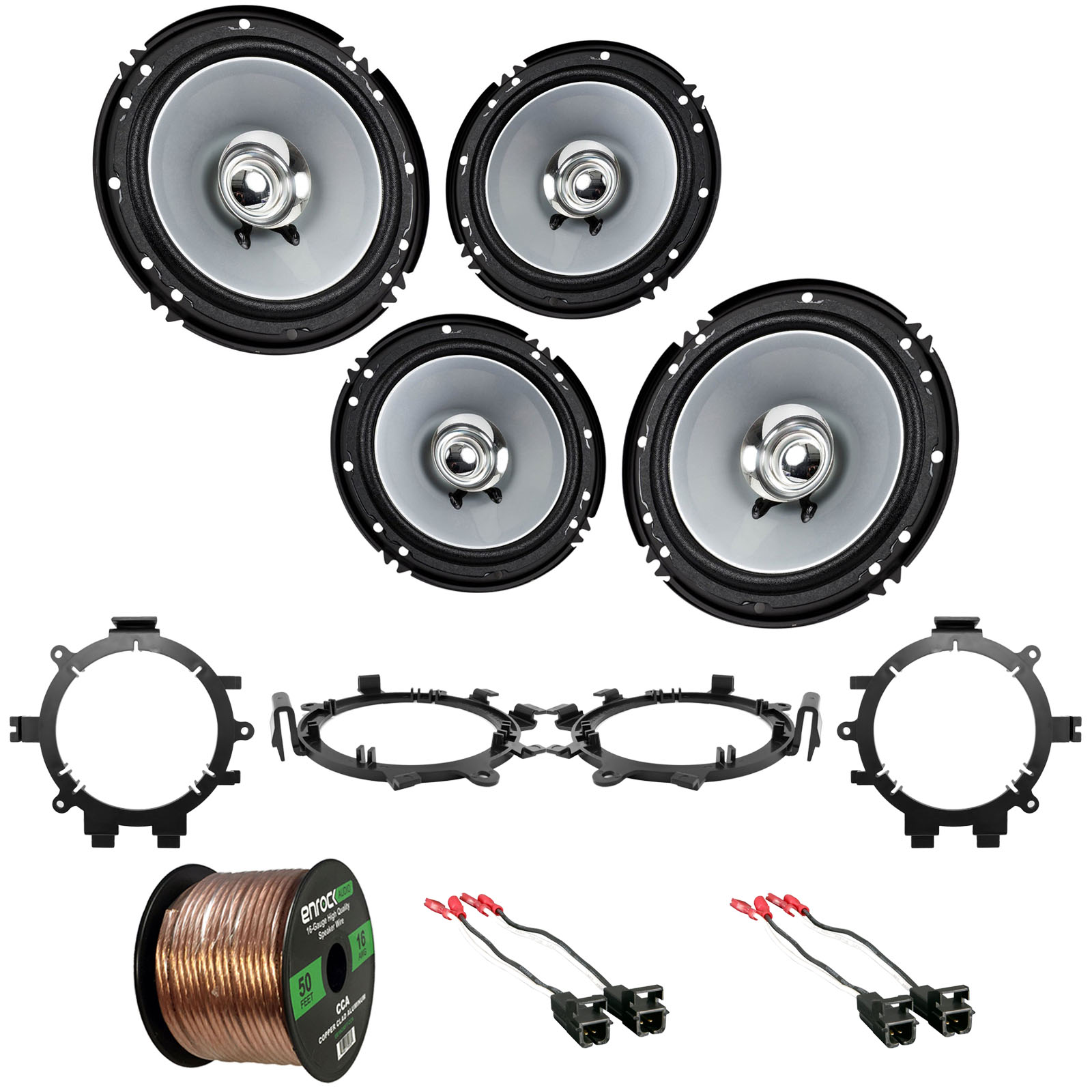 "4x Kenwood KFCC1656S 6.5"" 2-Way Flush Mount Speakers (Black/Silver Color), 4x Metra Speaker Wire Harness, 4x Speaker Mounting Brackets Adaptors, 16-Gauge 50 Foot Wire (Select 1995-2009 Vehicles)"