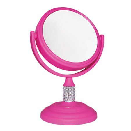 Soft Touch Round 10x/1x Magnification Mini Make up Vanity Mirror with Crystal Neck Design Body Pink - 3.75
