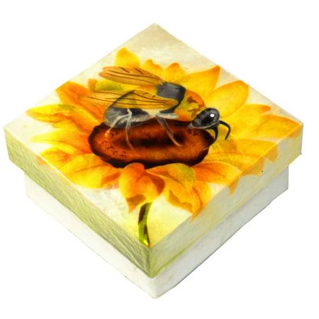 Bee Craft - Kubla Crafts Capiz Shell Bumble Bee Trinket Jewelry Gift Change Box