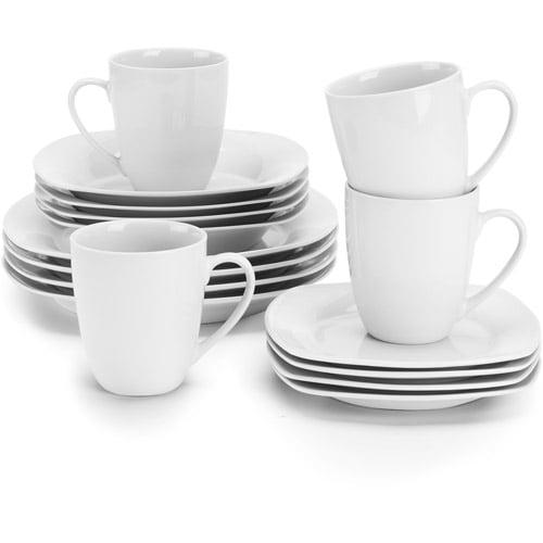 10 Strawberry Street Simply White Square 16-Piece Dinnerware Set