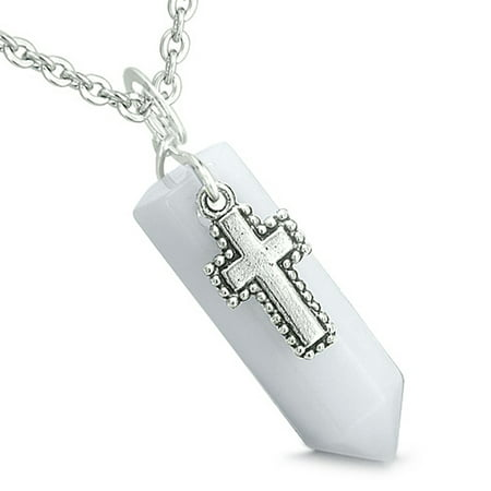 Amulet Crystal Point Wand Holy Cross Charm White Snowflake Quartz Pendant 22 Inch Necklace