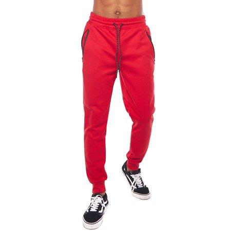 Mens Solid Zipper Pocket Waistbend Workout Jogger Pants 9001-1580-S-Red