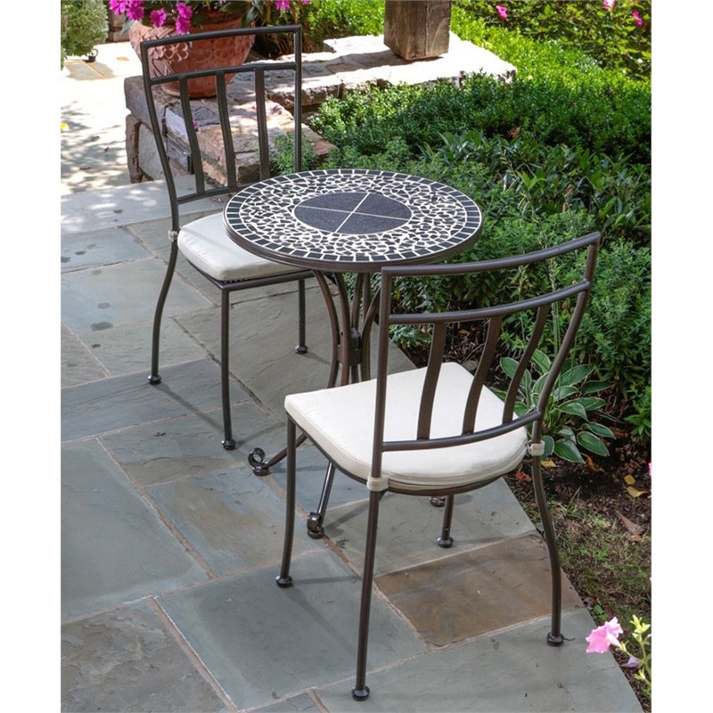Alfresco Vulcano Mosaic Bistro Set (Mosaic Bistro Set), Brown, Patio Furniture (Glass)