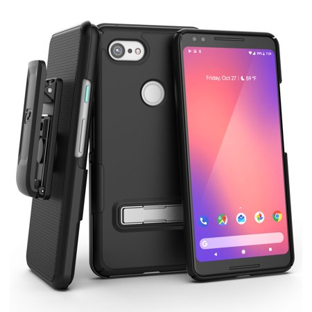 - Encased Slimline Pixel 3 Belt Clip Case, Ultra Slim Fit Protective Cover with Metal Kickstand & Holster Shell Combo (Rub