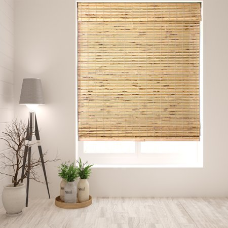 Kona Natural Roman Shade (Arlo Blinds Cordless Petite Rustique Bamboo Roman Shade - Size: 18