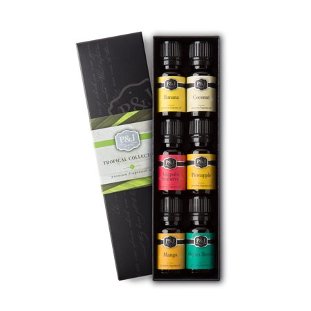 Tropical Set of 6 Fragrance Oils - Premium Grade Scented Oil - 10ml - Banana, Coconut, Awapuhi and Seaberry, Pineapple, Mango, Ocean