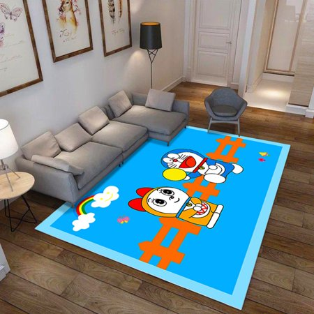 Washable Sea World Pattern Printing Carpet for Living Room Bedroom Bedside World Linen Pattern