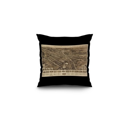 Goshen  New York   Panoramic Map  16X16 Spun Polyester Pillow  Black Border