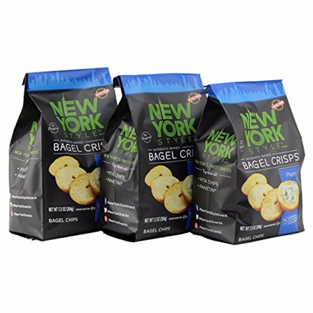 New York Style Bagel Crisps Plain, 7.2 Ounce -(Pack of 3) Best Baked Crisps Will Make Your